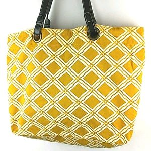 Mustard Yellow Tote Bag with Leather Straps